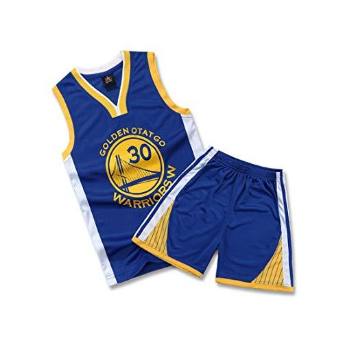 WELETION Kinder Trikot Warriors Curry Nr. 30 Jersey Basketball Shirt Weste Top Shorts für Jungen und Mädchen(Blau,XL)