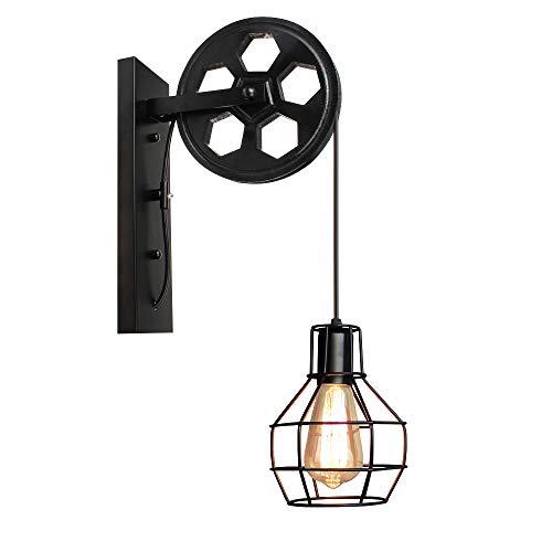 Applique Murale Industrielle, iDEGU Éclairage Mural Vintage Poulie Lampe de Mur Luminaire Intérieur pour Bar, Chambre à Coucher, Salon, Restaurant, Café, Couloir - Noir