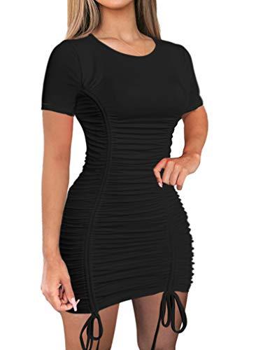 LAGSHIAN Women Sexy Summer Club Ruched Short Sleeve...
