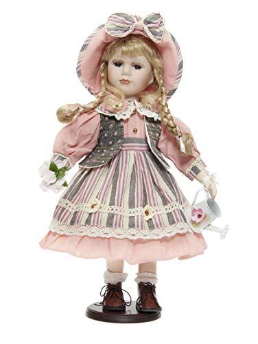 RF Collection Porzellanpuppe, Sammlerpuppe, Künstlerpuppe Mädchen mit Hut 42 cm