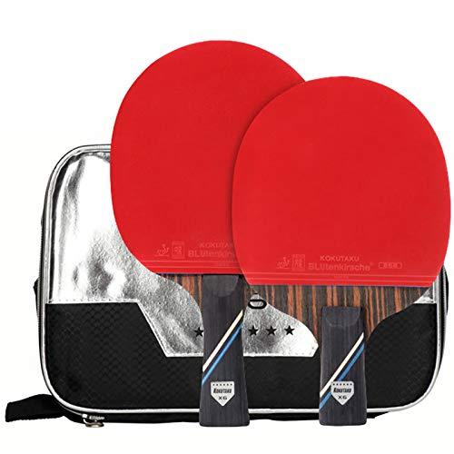 X-xyA Conjunto de murciélagos de Tenis de Mesa de 6 Estrellas Profesional y Penhold 2 Player con Bolsa de Transporte de Raquetas de Ping Pong