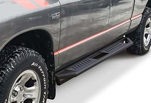 APS iArmor Aluminum Side Steps Armor Custom Fit 2002-2008 Dodge Ram 1500 Quad Cab & 03-09 2500 3500 (Exclude Daytona Rumble Bee and SRT-10 Models) (Nerf Bars Side Steps Side Bars)