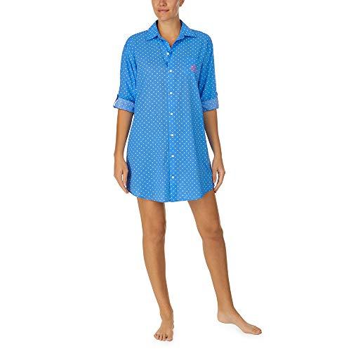 LAUREN HOME Nachthemd durchgeknöpft, IILN32055, Blue Dots, XL