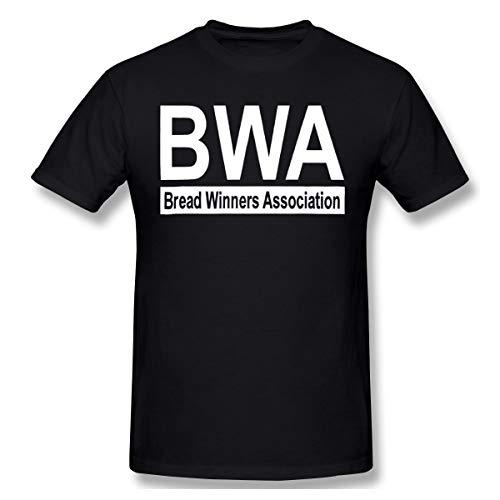 BWA Bread Winners Association Mens Graphic Blouse Short Sleeve Casual T-Shirt Black