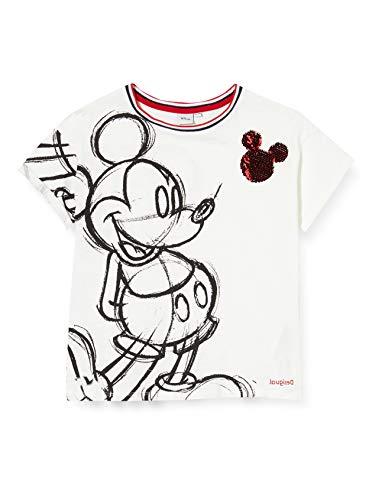 Desigual Mädchen TS_Mickey T-Shirt, Weiß (Blanco 1000), 128 (Herstellergröße: 7/8)