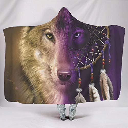 Fineiwillgo Tierwolf - Sudadera con capucha para niñas, de microfibra, 130 x 150 cm, color blanco
