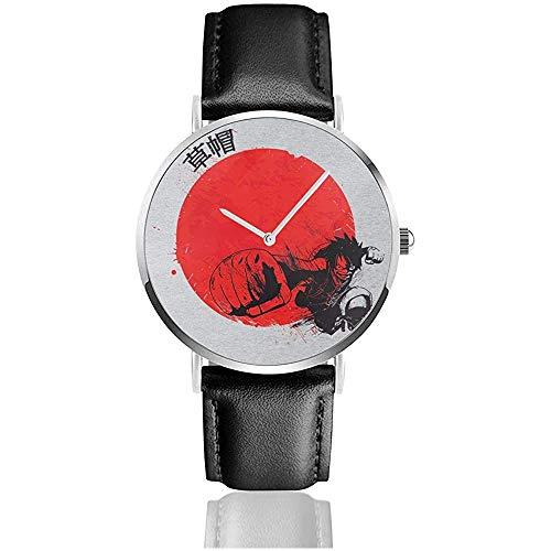 Unisex Red Sun Monkey D Ruffy Einteileruhren Quarzlederuhr mit schwarzem Lederband