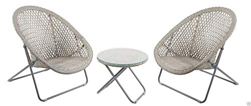 Faux Rattan Lounge Furniture Set, Ideal for a Conservatory And as a Patio Garden Set - Includes Two Very Well Made Foldaway Chairs and Round Table with Glass Top