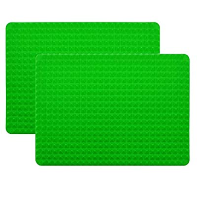 2 Pack Pyramid Silicone Baking Mat, 15 x 10.5 inches Baking Sheet Non-Stick Silicone Mat for Cooking, Baking and Roasting, Making Gummies, Crafting and more, Dishwasher Safe, Green