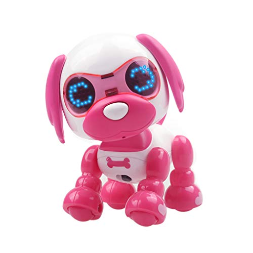 NLGToy Remote Control Robotic Dog RC Interactive Intelligent Walking Dancing,Smart Puppy Robot LED Eyes Sound Recording Sing Sleep Cute Toy,Best Gift for Boys and Girls 3 Years Old (Hot Pink)