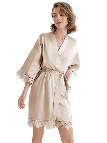 SIORO Damen Bademantel Aus Satin-Seide Schräg mit V-Ausschnitt Kurze Kimono-Robe Brautjungfern-Robe