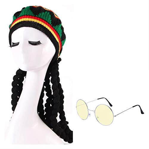thematys Peluca y Gorra Bob Marley Dreadlocks con Gafas de 2 Piezas Carnaval y Cosplay - Damas y Caballeros