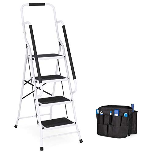 Best Choice Products 4- Step Ladder, Folding Portable Step Stool w/Padded Hand Grips, Non Slip Rubber Feet, Attachable Tool Bag, 225lbs Capacity