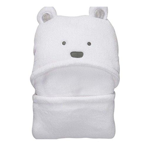 Vine Couverture de bébé ultra douce avec capuche et animal en peluche à la mode-Peignoir de bain à capuche pour bébé, à motif nounour ourson 92x72cm(blanc)