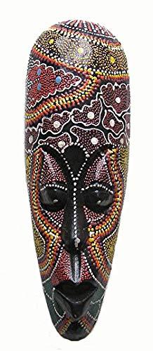 Un estilo Aborigen máscara pintada con puntos, pintado a mano madera 30cm de altura colgante de pared