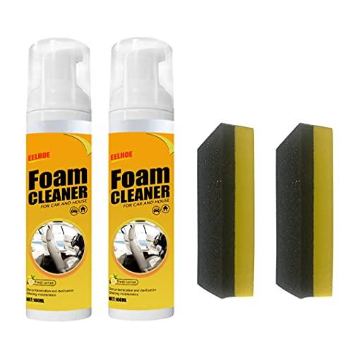 ZHBB Limpiador de espuma para coche y casa, limpiador de espuma multiusos con sabor a limón, portátil, multiusos para tapicería de cuero, limpiador de asiento de alta espuma (2 piezas de 100 ml)