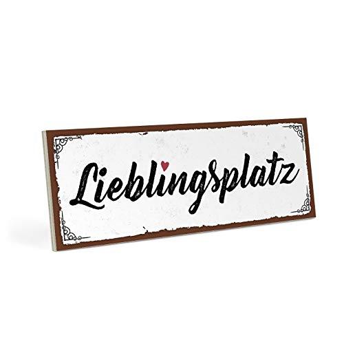 ARTFAVES Holzschild mit Spruch - LIEBLINGSPLATZ - Vintage Shabby Deko-Wandbild/Türschild