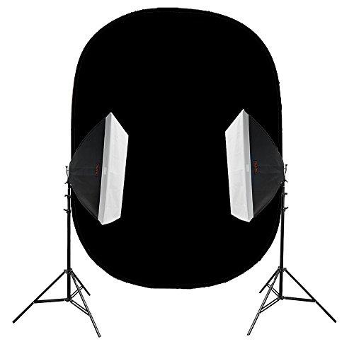 PIXAPRO DAYLiTE4 - Kit doble de 4200 W con fondo plegable negro superbrillante, kit de iluminación de vídeo de 5500 K, luz de día, luces de entrevista, bombillas fluorescentes (4200 W, kit doble con fondo negro)