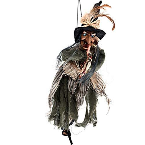 Halloween-Deko Halloween Party Requisiten Bruja Colgante Con Escoba Accesorios De La Fiesta De Halloween Colgante Fantasma Juguetes Eléctricos Para Niños Regales De Broma Horrorización Del Esqueleto