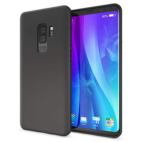 NALIA Handyhülle kompatibel mit Samsung Galaxy S9 Plus, Ultra-Slim TPU Silikon Neon Hülle, Dünnes Cover Gummi Schutzhülle Skin, Etui Handy-Tasche Backcover Smartphone Bumper, Farbe:Schwarz
