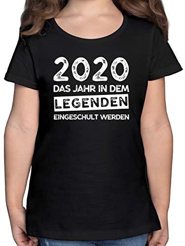 Einschulung und Schulanfang - 2020 Das Jahr in dem Legenden eingeschult Werden - 128 (7/8 Jahre) - Schwarz - Geschenk mädchen 5 Jahre - F131K - Mädchen Kinder T-Shirt