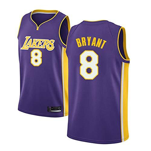 Camiseta de Baloncesto Kobe Bean Bryant para Hombre, Los Angeles Lakers # 8 Chaleco de Verano de Baloncesto Bordado Mesh para jóvenes Jersey Neutral Swingman Se Puede Limpiar repetidamente-Purple A-X