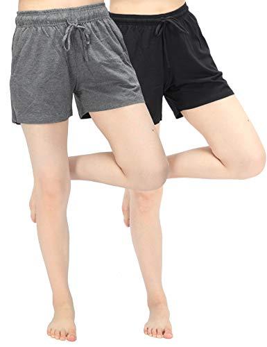 WEWINK CUKOO Damen Pyjama-Shorts, Baumwolle, weich, Schlaf-Shorts, dehnbar, Lounge-Shorts, Damen, Nachtwäsche PJ mit Taschen - mehrfarbig - L=US 12-14