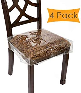 "Houseables Chair Seat Covers, Plastic Cover, Fits 16"" – 18"" Seats, 4 Pack, Clear, Adjustable, PVC, Waterproof Protector, Vinyl, Kids Chairs Slipcover, for Dining Room, Kitchen, Cushion, with Straps"