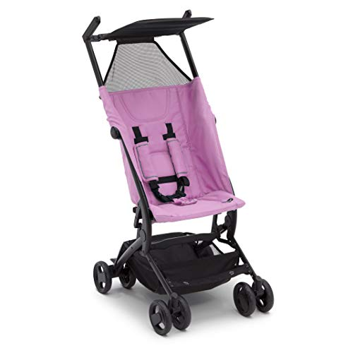 The Clutch Stroller by Delta Children - Lightweight Compact Folding Stroller - Includes Travel Bag - Fits Airplane Overhead Storage - Pink