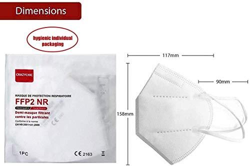 CRAZYCHIC – Atemschutzmaske FFP2 – CE Zertifiziert EN 149 Schutzmaske – Mundschutzmaske – Staubschutzmaske – Hohe Filtration Maske 20 Stück - 5