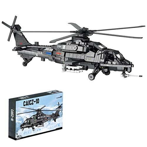 WWEI Juego de construcción de helicóptero de técnica con cohetes, 8 pilotos, 1366 piezas militares, helicóptero, avión, bloques de montaje MOC, compatible con minifigura de Lego.