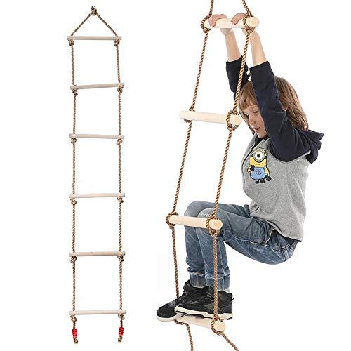 winnerruby Juego de 5 peldaños de madera, escalera, columpio de 2 metros de alto, ideal para escalar, marco de árbol, parque de juegos, columpio