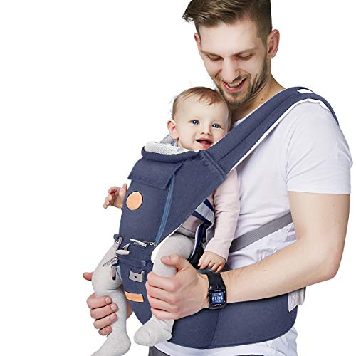 Baby - Carrier, 6-in-1 Baby Carrier with Waist Stool-, FRUITEAM Baby Carrier with Hip Seat for Breastfeeding, One Size Fits All - Adapt to Newborn, Infant & Toddler (Navy)