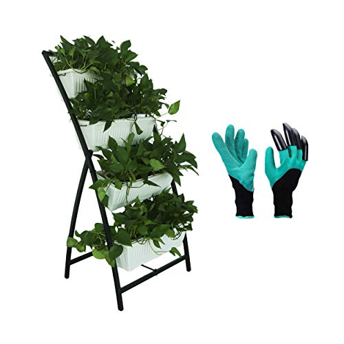 Semblis Vertical Planter Raised Garden Bed With Extra Gardening Gloves - 6ft Standing Tiered - 4 Box Planters - Free-Standing - Grow Herbs Vegetables Lettuce Strawberry (White)