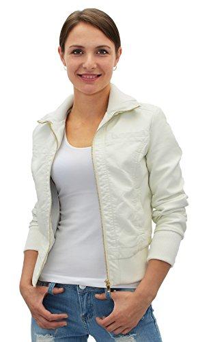 ESRA Damen Lederjacke Damen Collegejacke Damen Jacke Kunstleder in 15 Farben M08