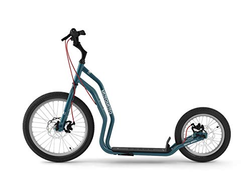 Yedoo Mezeq Tretroller - bis 150 kg, mit Luftreifen 20/16 - Roller Scooter für Erwachsene, Offroad Tretroller mit Ständer und verstellbaren Lenker, Dogscooter mit Scheibenbremse, blau