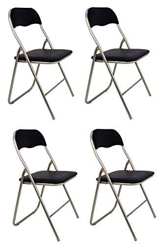 La Silla Española - Pack 4 Sillas plegables fabricadas en aluminio con asiento y respaldo acolchados en PVC, modelo Sevilla, Color negro. Medidas 78x43,5x46 cm