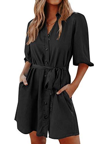 YOINS Damklänningar blusklänning elegant långskjorta V-ringad 1/2 ärmar skjortklänning kort miniklänning med knappar, Lykta svart, S