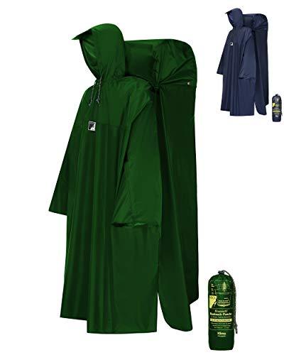 HOCK Regenponcho Wandern 'Kraxen AS' mit Regenschutz für großen Rucksack – Herren & Damen Regencape Atmungsaktiv mit Sturmhalteband für Wanderprofis – Extra Langer Wanderponcho mit verstellbarer Vorderlänge - Grün - M