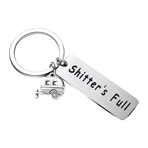 Camper Gifts Shitters Full Keychain Unique Gifts for Women Men RV Travelers Key Ring (Rectangle Style)