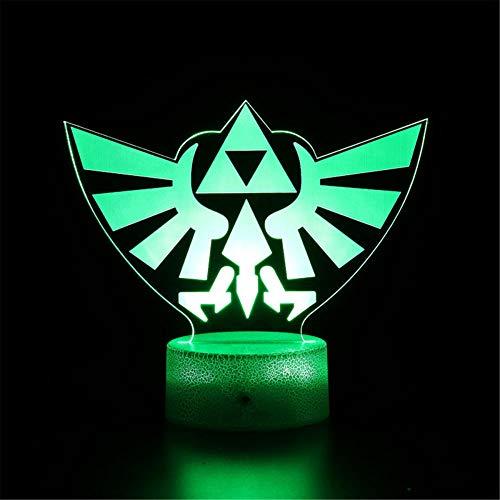 Lámpara de ilusión óptica 3D Luz de noche LED La leyenda de Zelda D Gaming regalos para niños carga USB para decoración del hogar juguetes frescos regalos cumpleaños Navidad