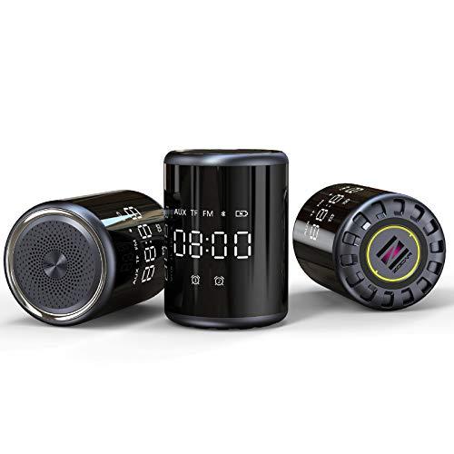 Bluetooth Lautsprecher, 360° Stereo Lautsprecher FM Radiowecker Digitaler Wecker Wireless Lautsprecher Tischuhr Reisewecker Digital LED Wecker, USB Uhrenradio mit Automatischem Dimmer und Sleep Timer