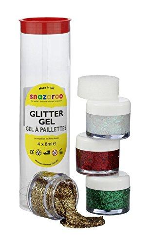 Snazaroo - Gel de maquillaje con purpurina/ brillo (verde, rojo, stardust y el rojo de oro)