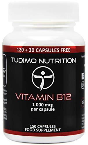 Vitamine B12 1000 mcg Vegan Capsules - 150 st. (5+ Maanden Voorraad) van Snelle Desintegrerende Capsules elk met 1000mcg Premium Kwaliteit Cyanocobalamine Poeder