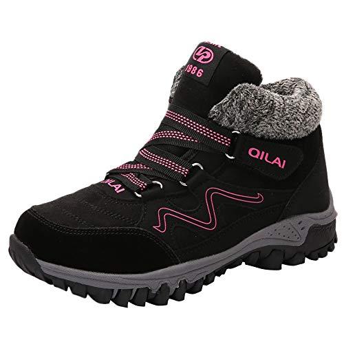 ELECTRIBottines de Neige Femme Fille, Bottes de Pluie Boots Montantes Hiver Plates Fourrée Chaussures de Ville Fourrure Chaude Imperméable Marche Résistante À l'usure
