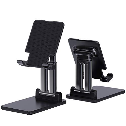Foldable & Adjustable Height Tablet Stand,HT HOOKTHER Thick Case Friendly Tablet Holder Stand for Desk Compatible with Phones/iPad/Samsung Galaxy Tabs/Switch/Kindle(4''-12'') (Black-B)