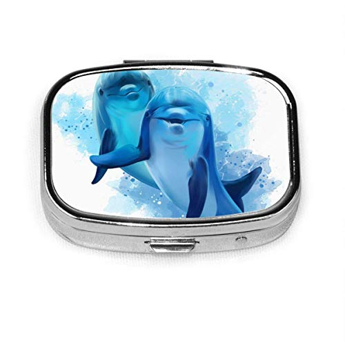 Pill Box Pill Box with 2 Compartments, Square Pill Box, Can Be Used for Coin Purse, Travel Pill Box Dolphins Abstract Animal Cute Blue Color Splash Ocean Nature Wildlife