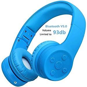 Yusonic - Auriculares inalámbricos plegables para niños, con puerto para compartir música y micrófono integrado para niños de 3 a 12 (E2 azul)