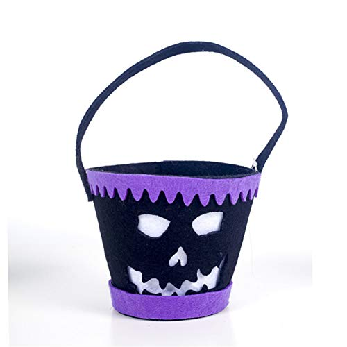 WSJKHY Halloween emmer tas vilt Helloween Candy Buggy tas mand Halloween Party decoratie opbergtas Helloween decoratie voor thuis zwart
