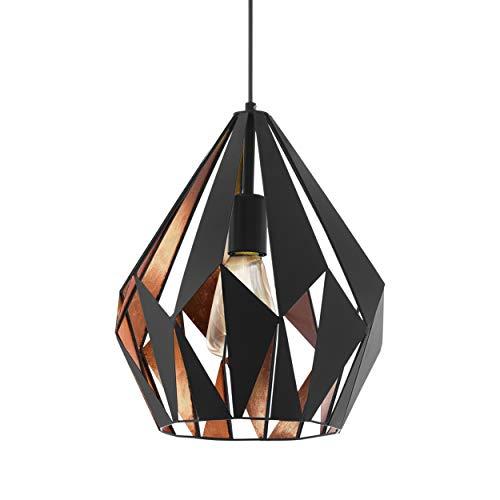 Lámpara colgante EGLO CARLTON 1, lámpara de suspensión con 1 bombilla, lámpara suspendida retro de acero, color: negro, cobre, casquillo: E27, Ø 31 cm